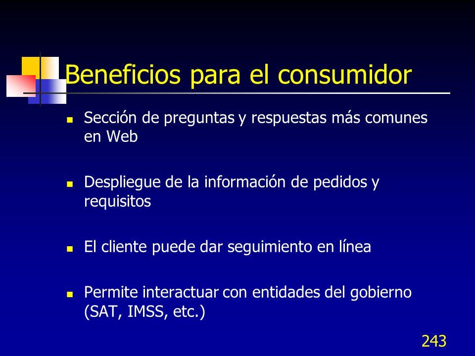 243 Beneficios para el consumidor Sección de preguntas y respuestas más comunes en Web Despliegue de la información de pedidos y requisitos El cliente