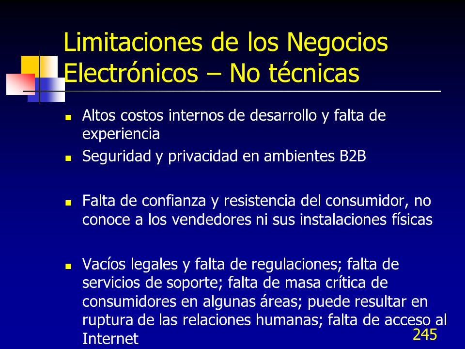 245 Limitaciones de los Negocios Electrónicos – No técnicas Altos costos internos de desarrollo y falta de experiencia Seguridad y privacidad en ambie
