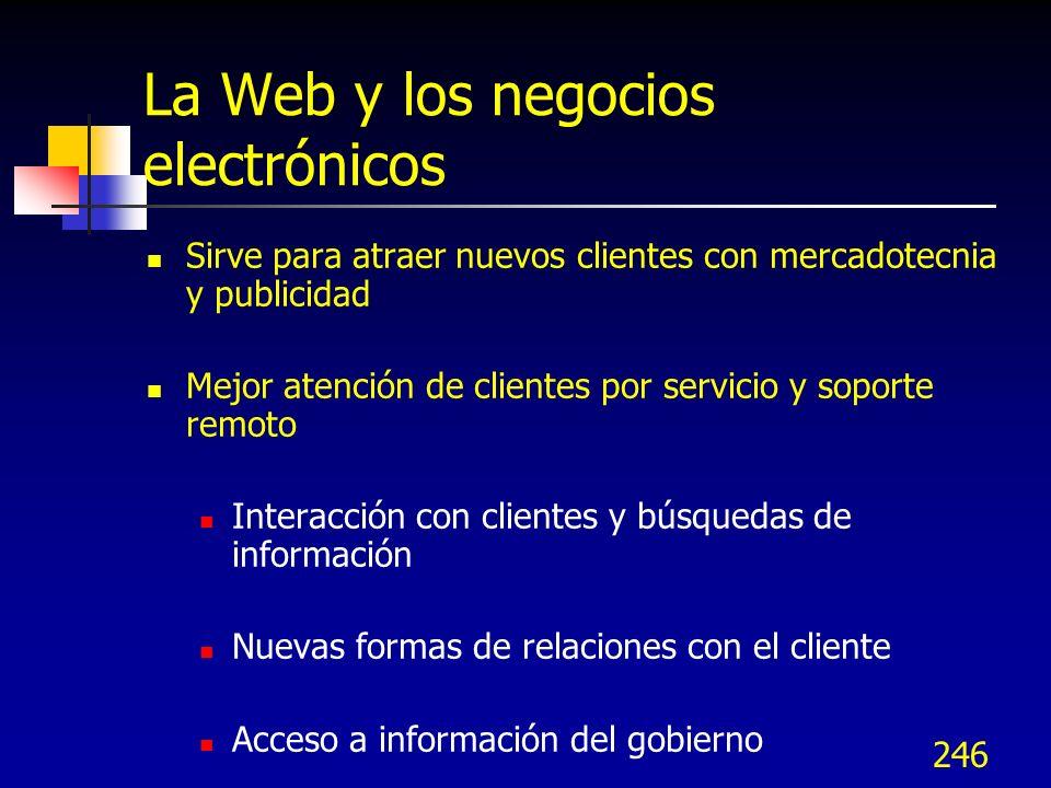 246 La Web y los negocios electrónicos Sirve para atraer nuevos clientes con mercadotecnia y publicidad Mejor atención de clientes por servicio y sopo
