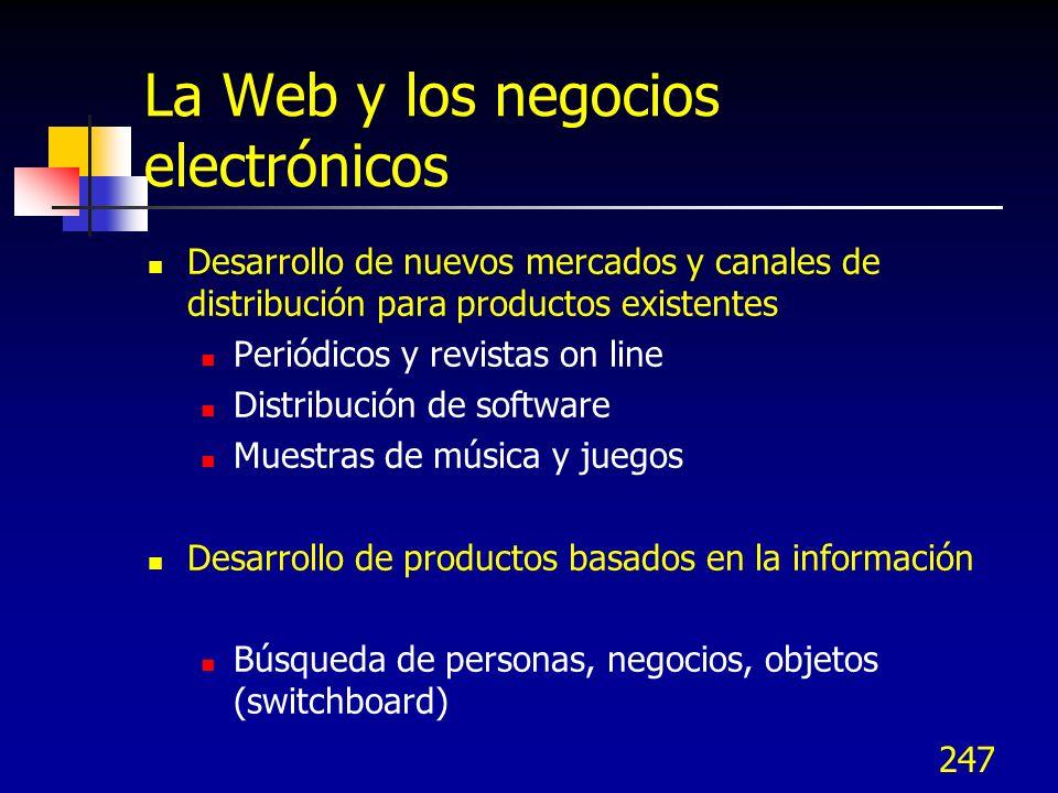 247 La Web y los negocios electrónicos Desarrollo de nuevos mercados y canales de distribución para productos existentes Periódicos y revistas on line