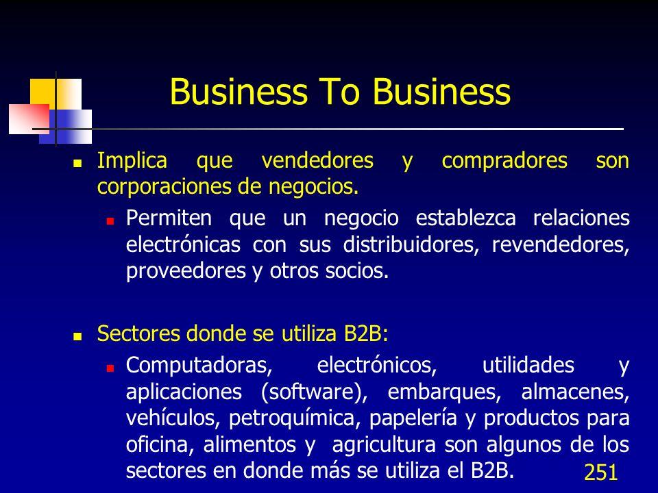251 Business To Business Implica que vendedores y compradores son corporaciones de negocios. Permiten que un negocio establezca relaciones electrónica