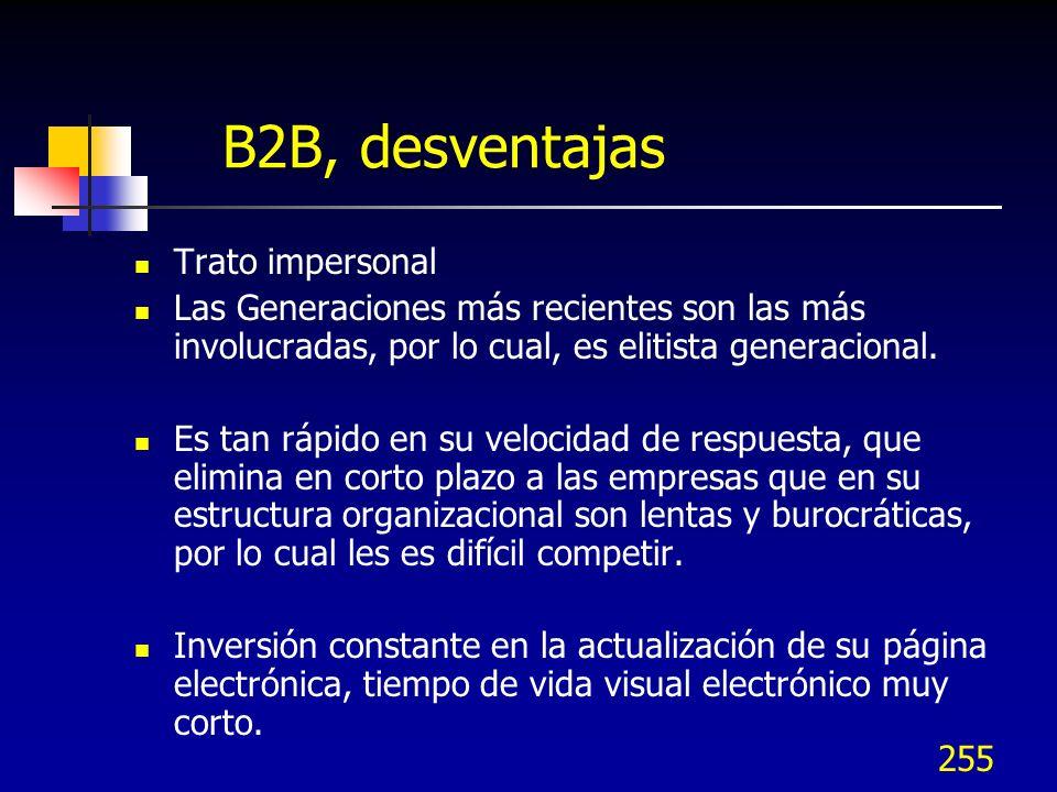 255 B2B, desventajas Trato impersonal Las Generaciones más recientes son las más involucradas, por lo cual, es elitista generacional. Es tan rápido en