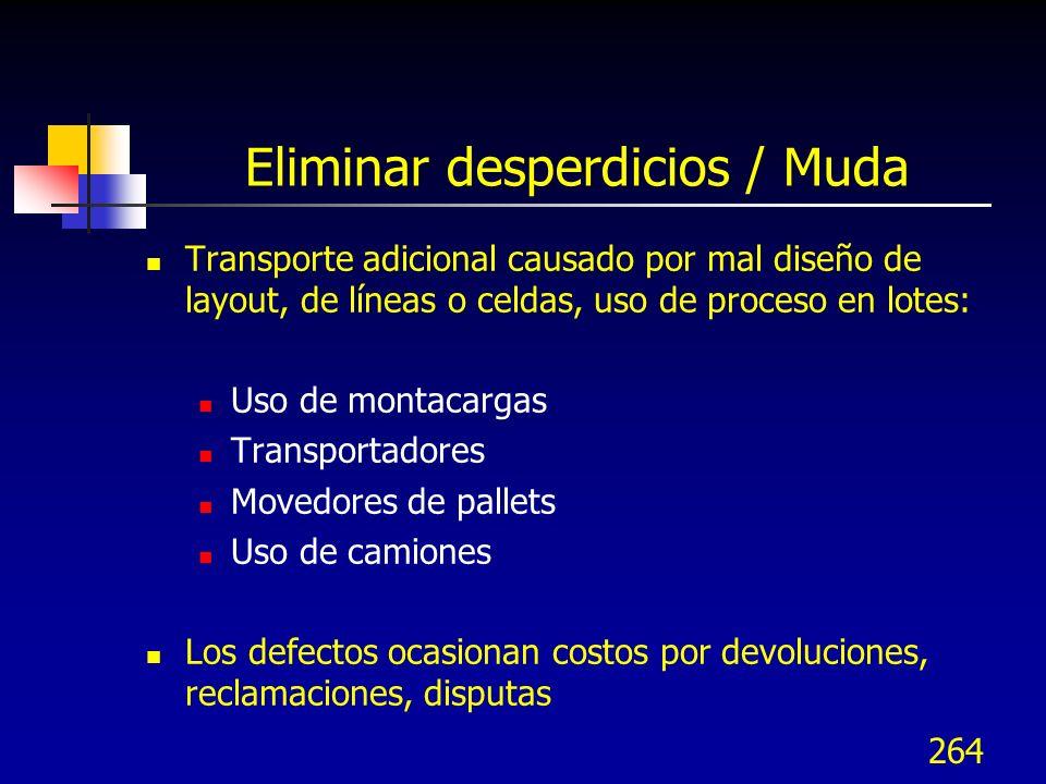 264 Eliminar desperdicios / Muda Transporte adicional causado por mal diseño de layout, de líneas o celdas, uso de proceso en lotes: Uso de montacarga