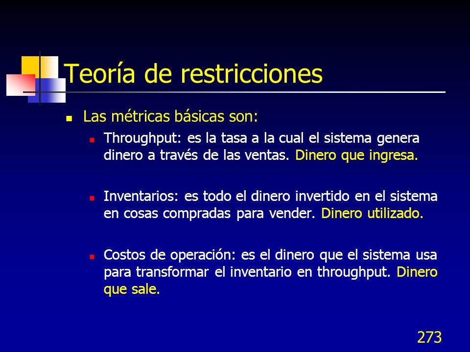 273 Teoría de restricciones Las métricas básicas son: Throughput: es la tasa a la cual el sistema genera dinero a través de las ventas. Dinero que ing