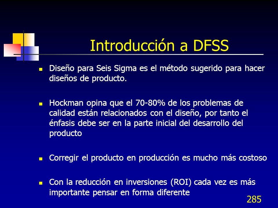 285 Introducción a DFSS Diseño para Seis Sigma es el método sugerido para hacer diseños de producto. Hockman opina que el 70-80% de los problemas de c