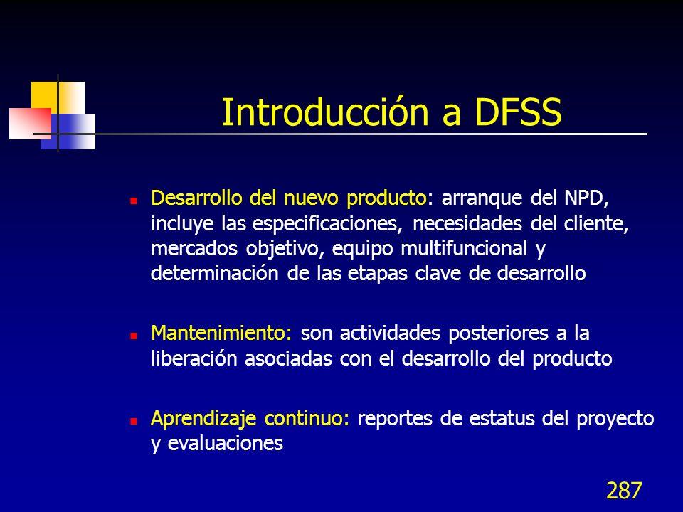 287 Introducción a DFSS Desarrollo del nuevo producto: arranque del NPD, incluye las especificaciones, necesidades del cliente, mercados objetivo, equ
