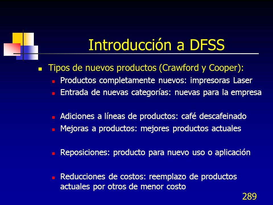 289 Introducción a DFSS Tipos de nuevos productos (Crawford y Cooper): Productos completamente nuevos: impresoras Laser Entrada de nuevas categorías: