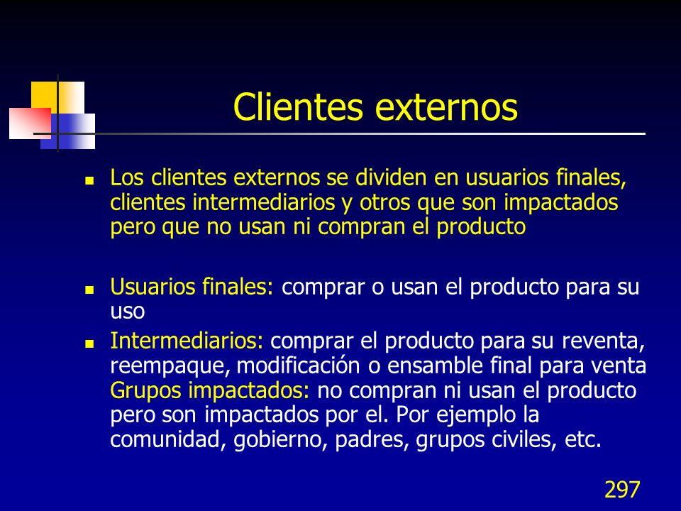 297 Clientes externos Los clientes externos se dividen en usuarios finales, clientes intermediarios y otros que son impactados pero que no usan ni com