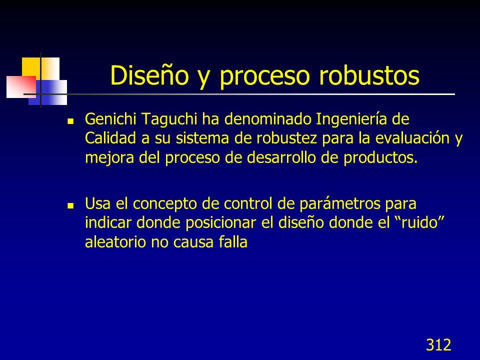 312 Diseño y proceso robustos Genichi Taguchi ha denominado Ingeniería de Calidad a su sistema de robustez para la evaluación y mejora del proceso de