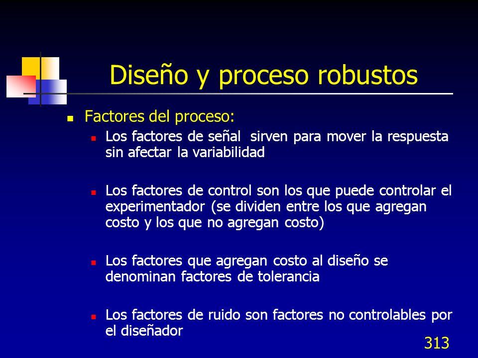 313 Diseño y proceso robustos Factores del proceso: Los factores de señal sirven para mover la respuesta sin afectar la variabilidad Los factores de c