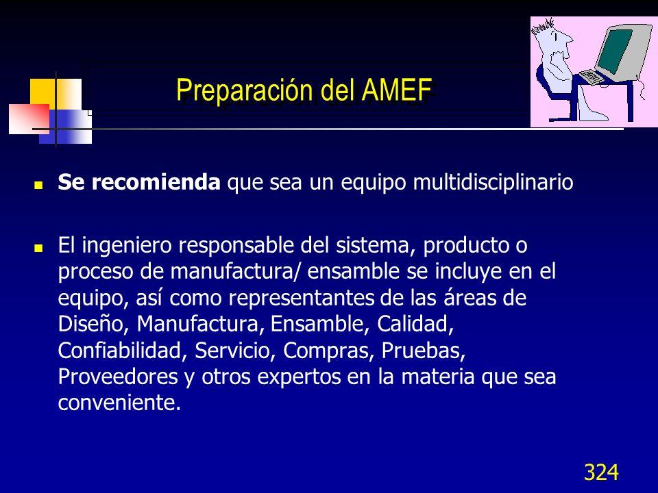 324 Preparación del AMEF Se recomienda que sea un equipo multidisciplinario El ingeniero responsable del sistema, producto o proceso de manufactura/ e