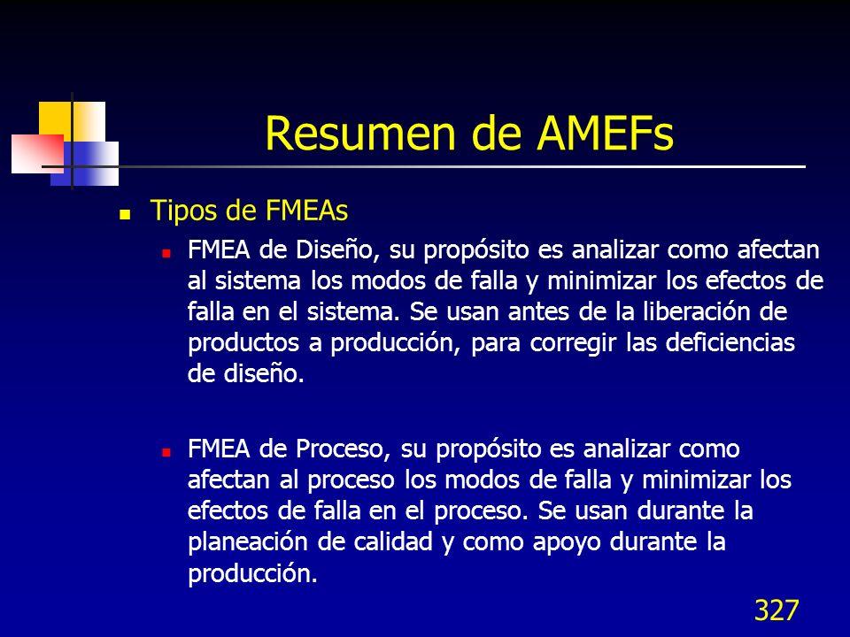327 Resumen de AMEFs Tipos de FMEAs FMEA de Diseño, su propósito es analizar como afectan al sistema los modos de falla y minimizar los efectos de fal