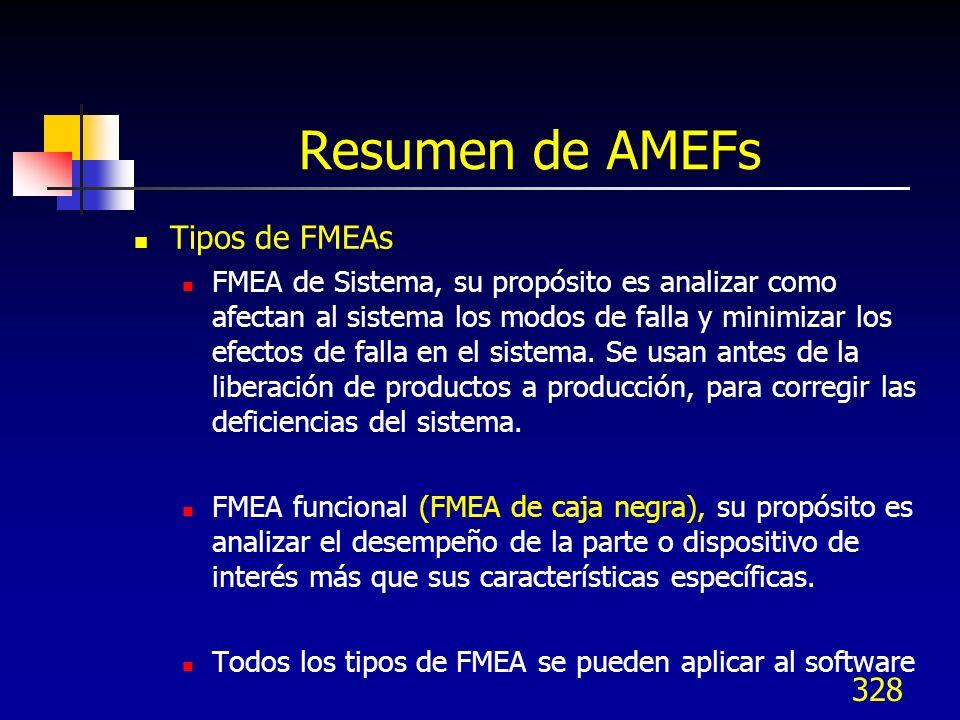 328 Resumen de AMEFs Tipos de FMEAs FMEA de Sistema, su propósito es analizar como afectan al sistema los modos de falla y minimizar los efectos de fa