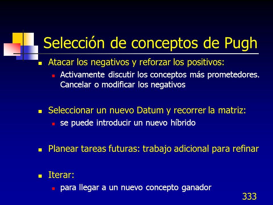 333 Selección de conceptos de Pugh Atacar los negativos y reforzar los positivos: Activamente discutir los conceptos más prometedores. Cancelar o modi
