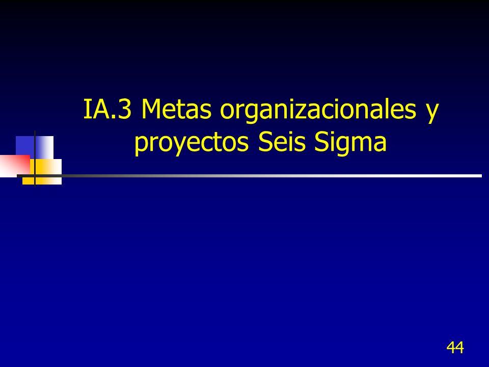 44 IA.3 Metas organizacionales y proyectos Seis Sigma