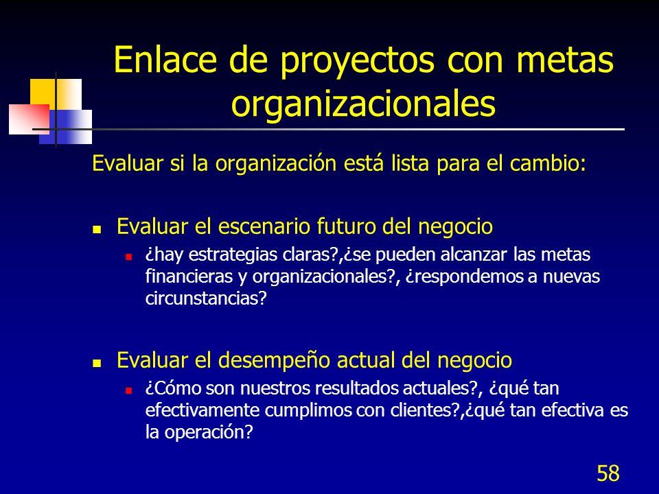 58 Enlace de proyectos con metas organizacionales Evaluar si la organización está lista para el cambio: Evaluar el escenario futuro del negocio ¿hay e