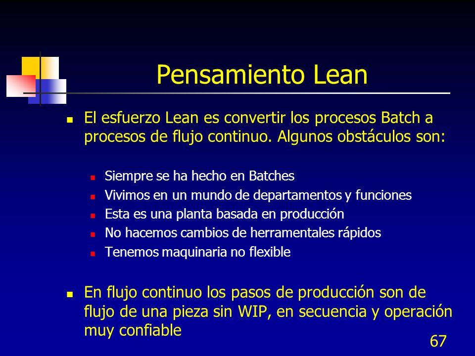67 Pensamiento Lean El esfuerzo Lean es convertir los procesos Batch a procesos de flujo continuo. Algunos obstáculos son: Siempre se ha hecho en Batc