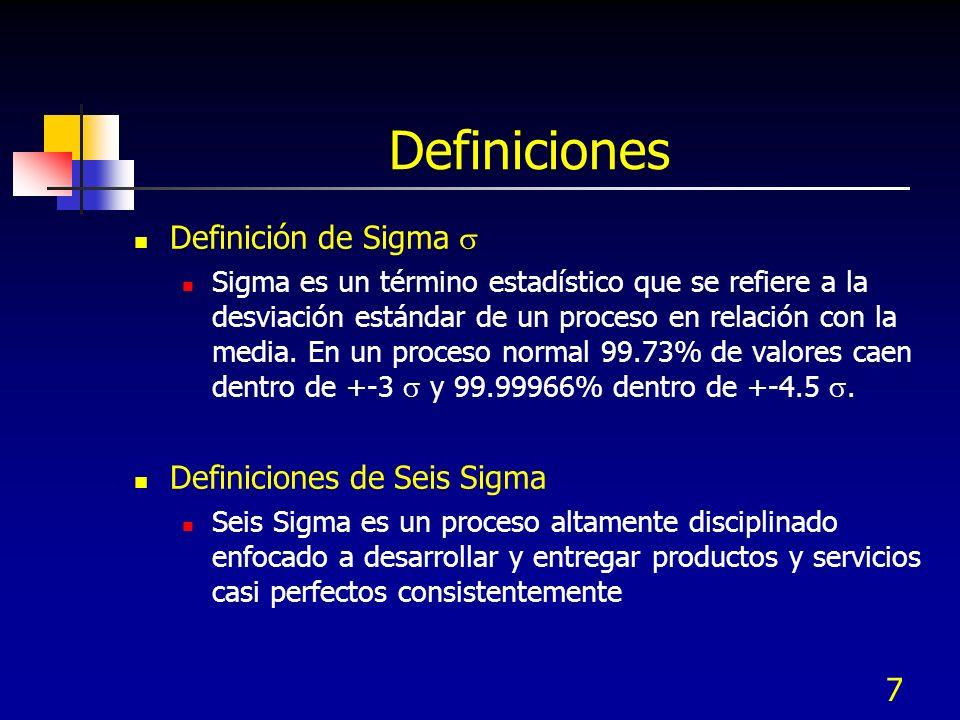 7 Definiciones Definición de Sigma Sigma es un término estadístico que se refiere a la desviación estándar de un proceso en relación con la media. En