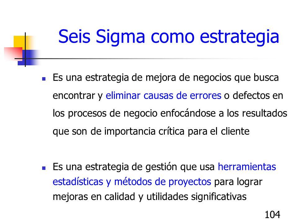 104 Seis Sigma como estrategia Es una estrategia de mejora de negocios que busca encontrar y eliminar causas de errores o defectos en los procesos de