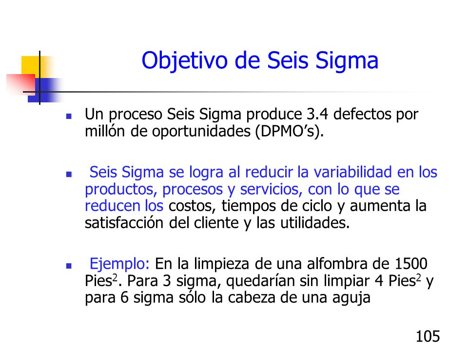 105 Objetivo de Seis Sigma Un proceso Seis Sigma produce 3.4 defectos por millón de oportunidades (DPMOs). Seis Sigma se logra al reducir la variabili