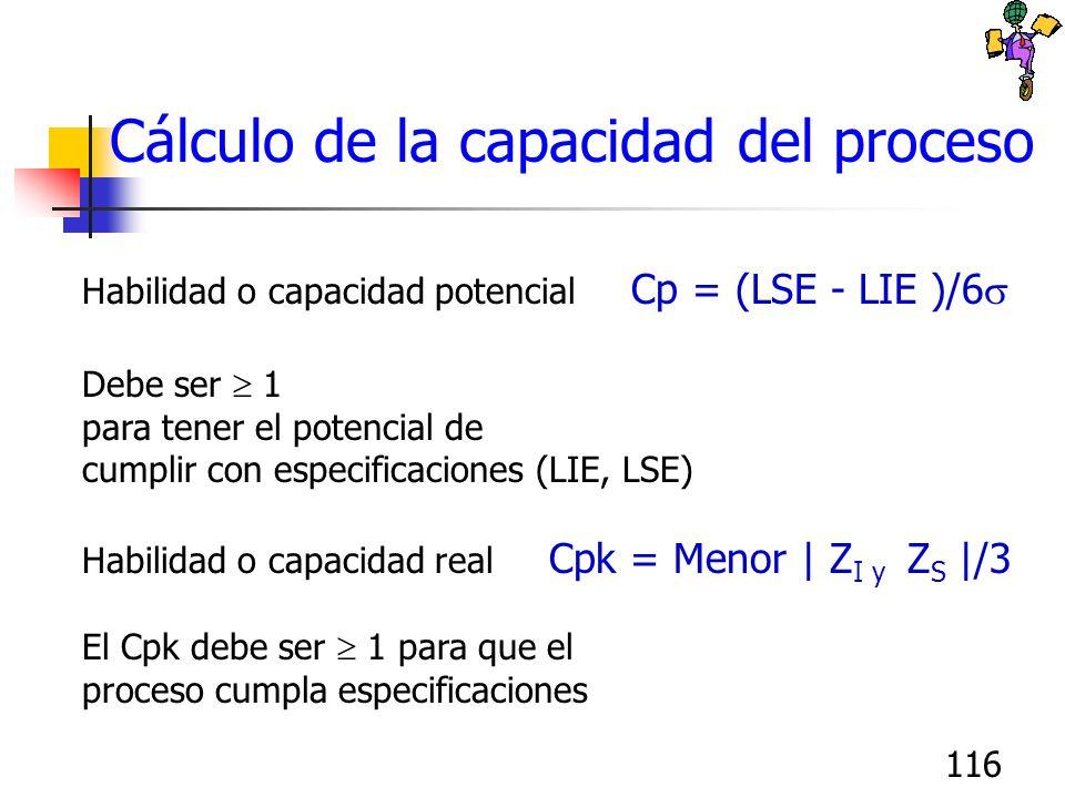 116 Cálculo de la capacidad del proceso Habilidad o capacidad potencial Cp = (LSE - LIE )/6 Debe ser 1 para tener el potencial de cumplir con especifi