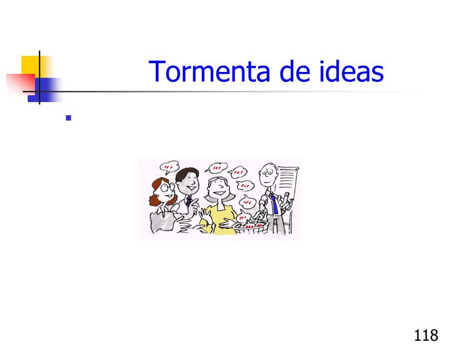 118 Tormenta de ideas Permite obtener ideas de los participantes