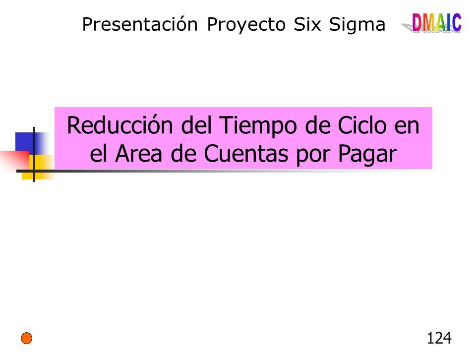 124 Presentación Proyecto Six Sigma Reducción del Tiempo de Ciclo en el Area de Cuentas por Pagar