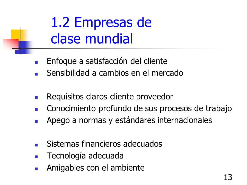 13 1.2 Empresas de clase mundial Enfoque a satisfacción del cliente Sensibilidad a cambios en el mercado Requisitos claros cliente proveedor Conocimie