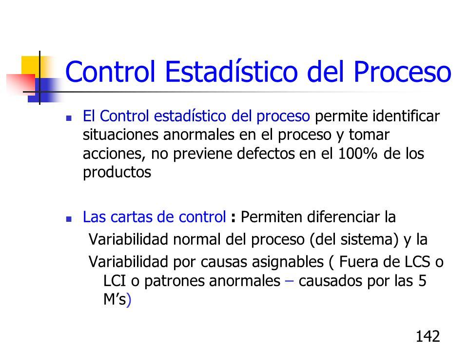 142 Control Estadístico del Proceso El Control estadístico del proceso permite identificar situaciones anormales en el proceso y tomar acciones, no pr