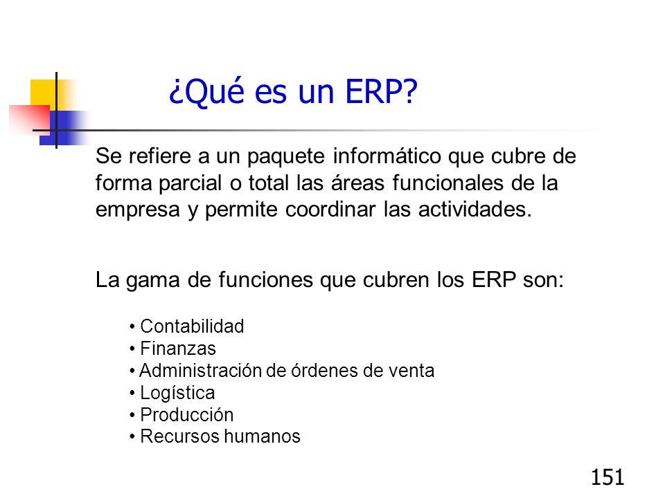 151 ¿Qué es un ERP? Se refiere a un paquete informático que cubre de forma parcial o total las áreas funcionales de la empresa y permite coordinar las