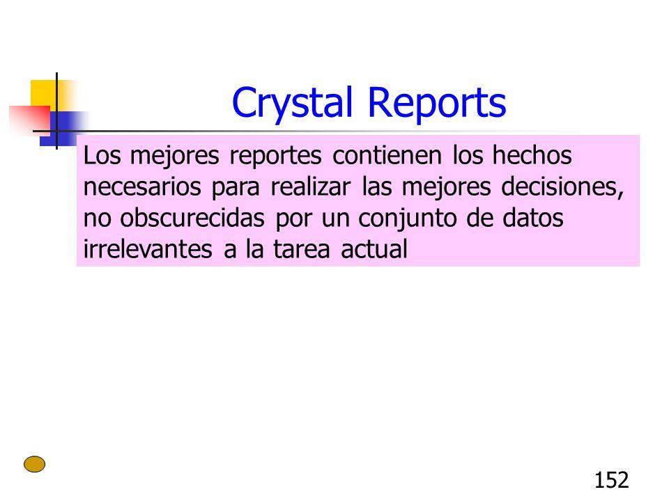 152 Crystal Reports Los mejores reportes contienen los hechos necesarios para realizar las mejores decisiones, no obscurecidas por un conjunto de dato