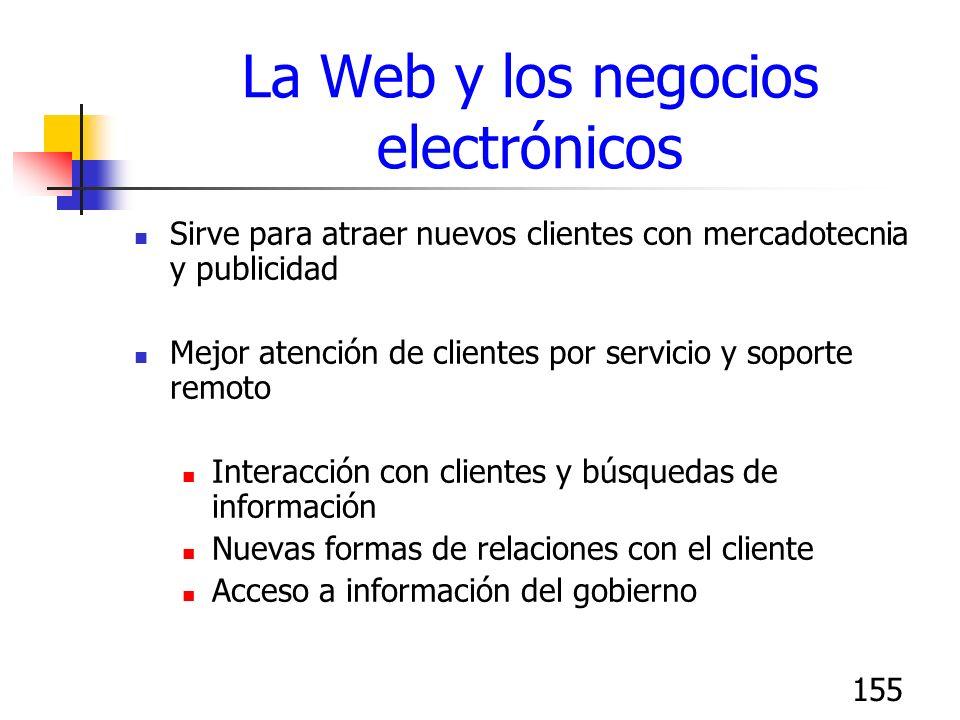 155 La Web y los negocios electrónicos Sirve para atraer nuevos clientes con mercadotecnia y publicidad Mejor atención de clientes por servicio y sopo