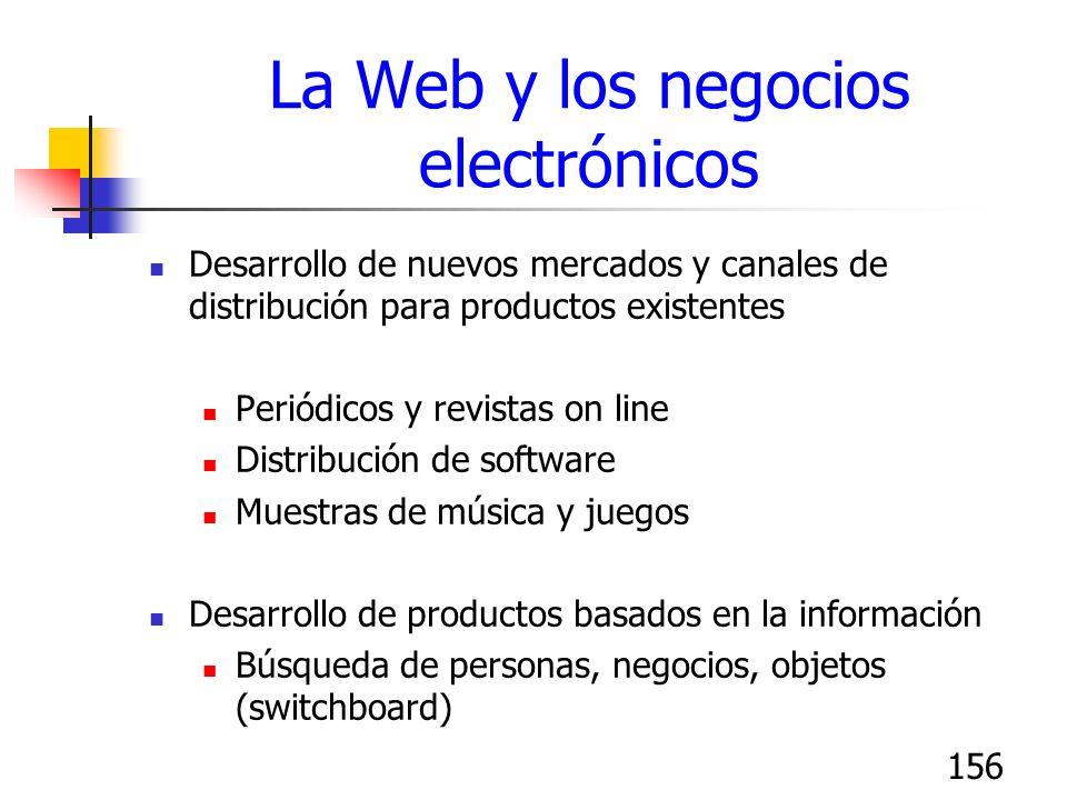 156 La Web y los negocios electrónicos Desarrollo de nuevos mercados y canales de distribución para productos existentes Periódicos y revistas on line