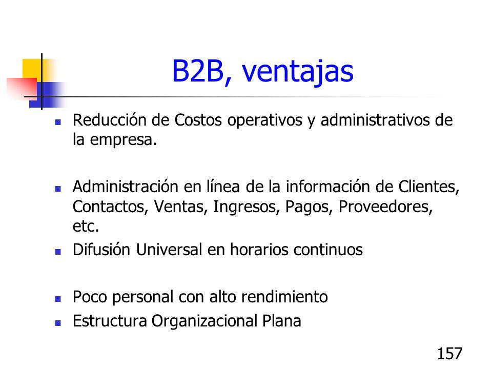 157 B2B, ventajas Reducción de Costos operativos y administrativos de la empresa. Administración en línea de la información de Clientes, Contactos, Ve