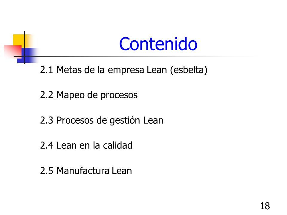 18 Contenido 2.1 Metas de la empresa Lean (esbelta) 2.2 Mapeo de procesos 2.3 Procesos de gestión Lean 2.4 Lean en la calidad 2.5 Manufactura Lean