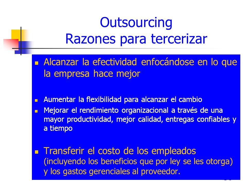 36 Outsourcing Razones para tercerizar Alcanzar la efectividad enfocándose en lo que la empresa hace mejor Aumentar la flexibilidad para alcanzar el c