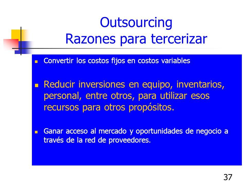 37 Outsourcing Razones para tercerizar Convertir los costos fijos en costos variables Reducir inversiones en equipo, inventarios, personal, entre otro
