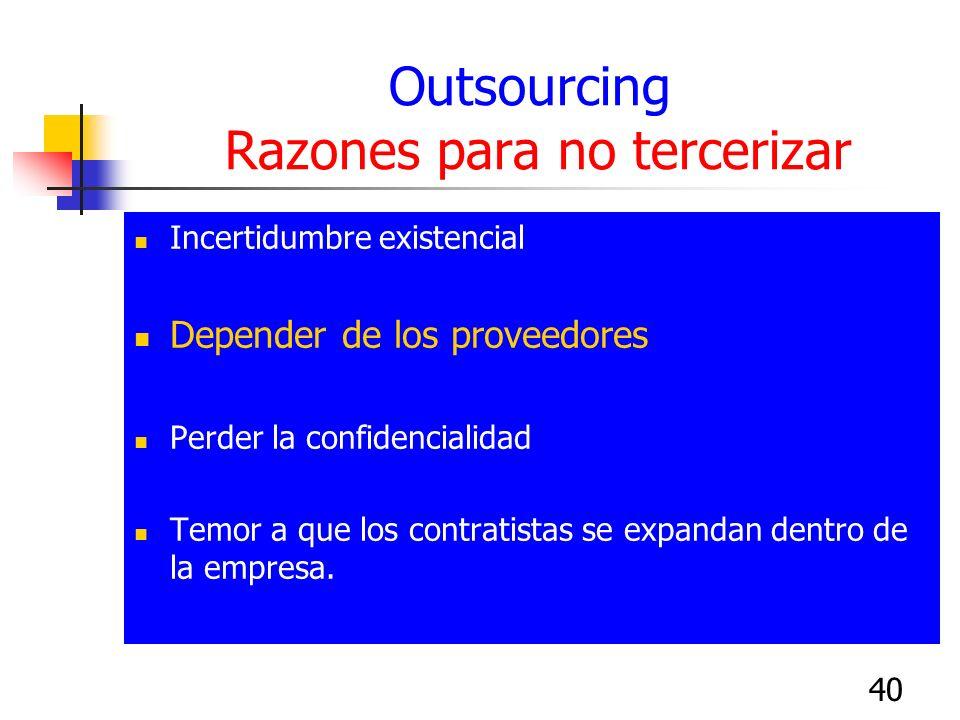 40 Outsourcing Razones para no tercerizar Incertidumbre existencial Depender de los proveedores Perder la confidencialidad Temor a que los contratista