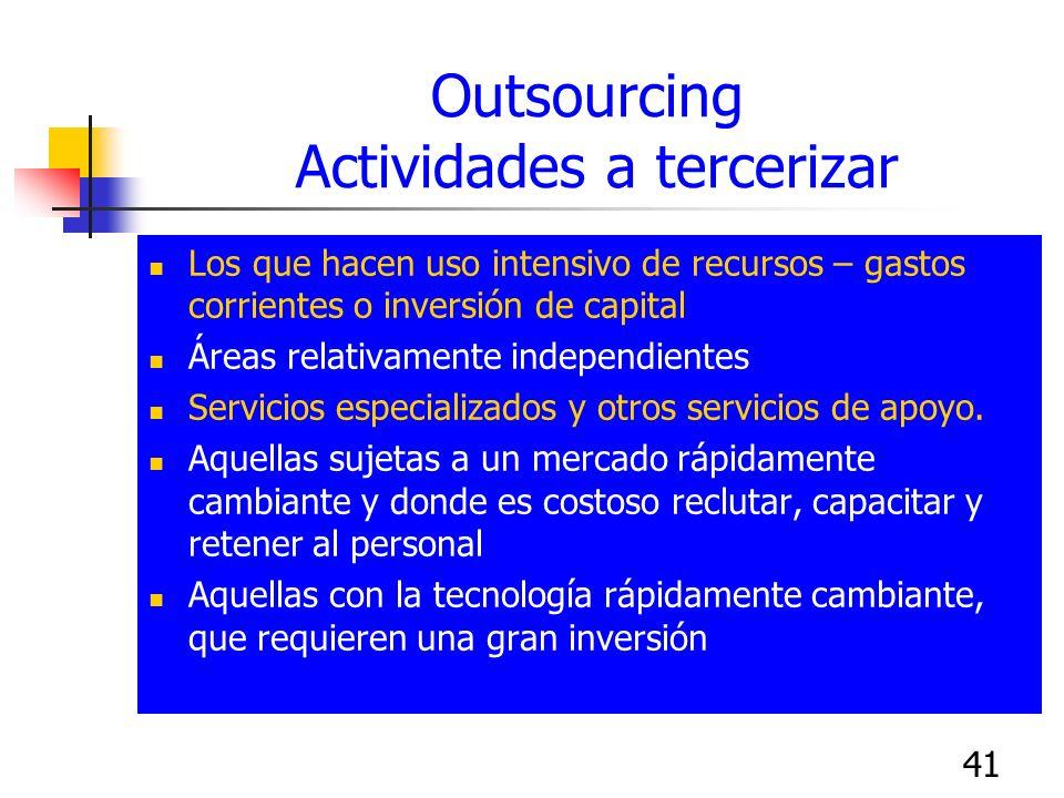 41 Outsourcing Actividades a tercerizar Los que hacen uso intensivo de recursos – gastos corrientes o inversión de capital Áreas relativamente indepen