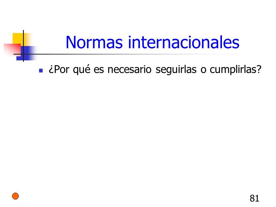 81 Normas internacionales ¿Por qué es necesario seguirlas o cumplirlas?