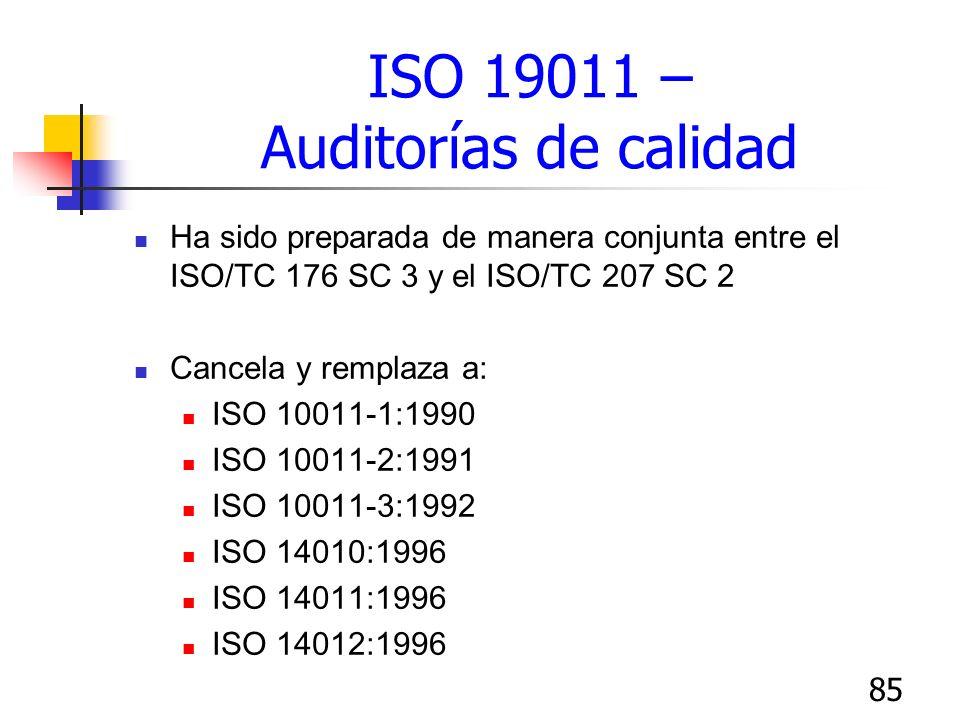 85 ISO 19011 – Auditorías de calidad Ha sido preparada de manera conjunta entre el ISO/TC 176 SC 3 y el ISO/TC 207 SC 2 Cancela y remplaza a: ISO 1001