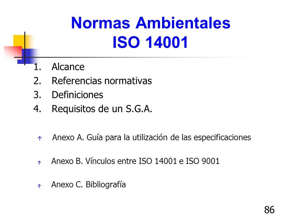 86 Normas Ambientales ISO 14001 1.Alcance 2.Referencias normativas 3.Definiciones 4.Requisitos de un S.G.A. á Anexo A. Guía para la utilización de las