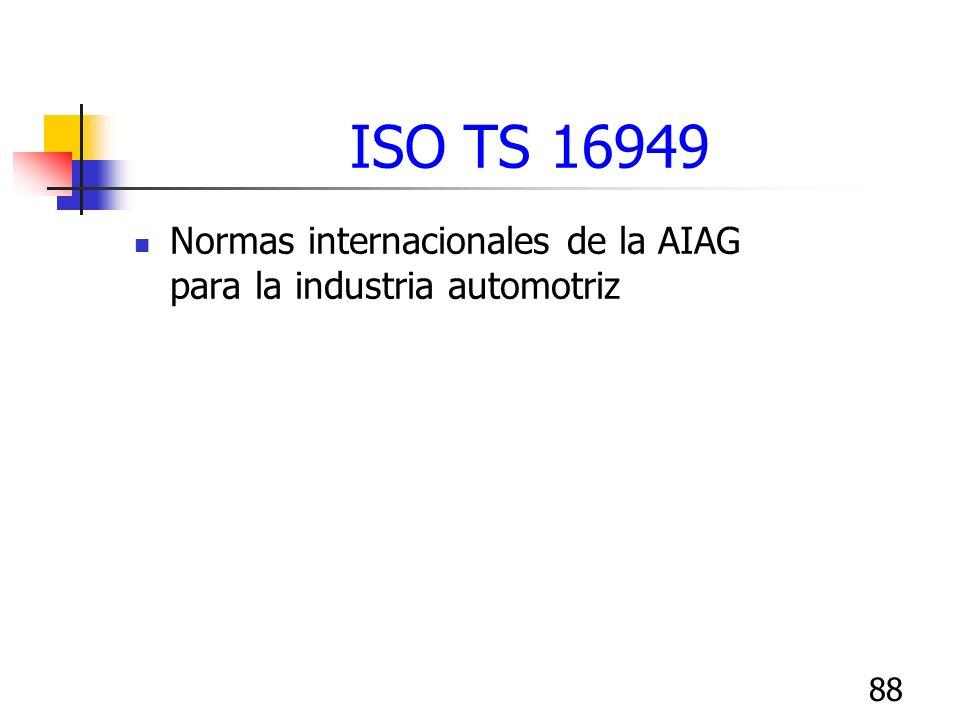 88 ISO TS 16949 Normas internacionales de la AIAG para la industria automotriz