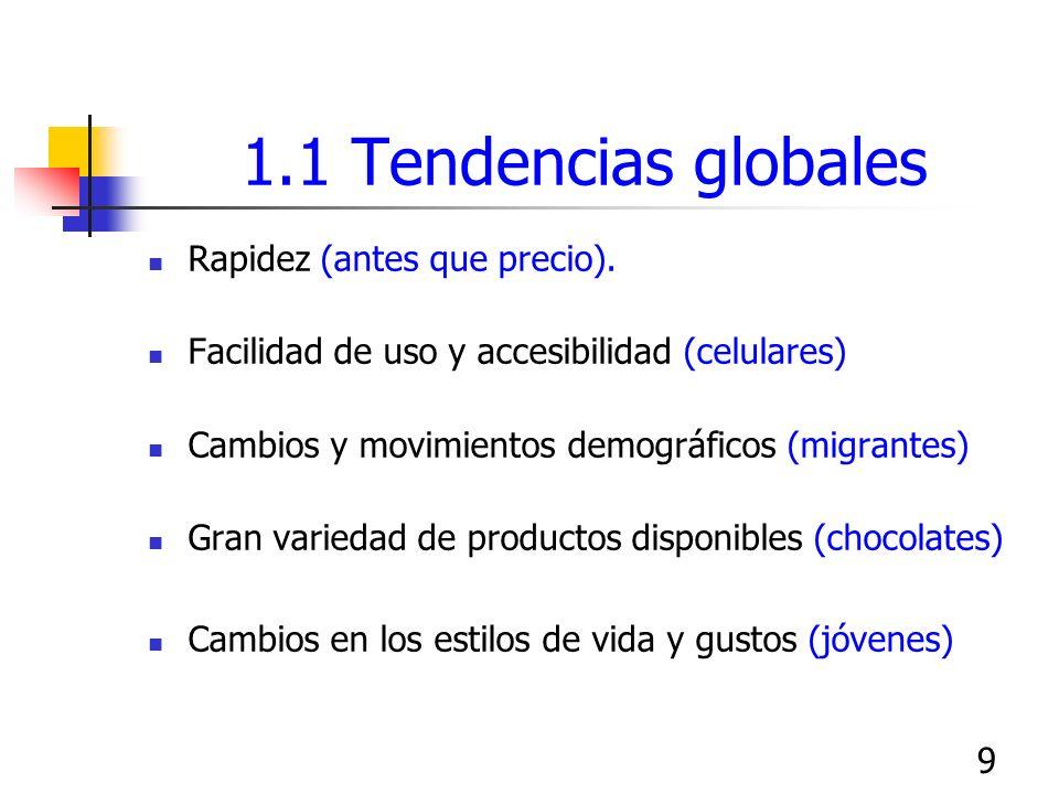 9 1.1 Tendencias globales Rapidez (antes que precio). Facilidad de uso y accesibilidad (celulares) Cambios y movimientos demográficos (migrantes) Gran