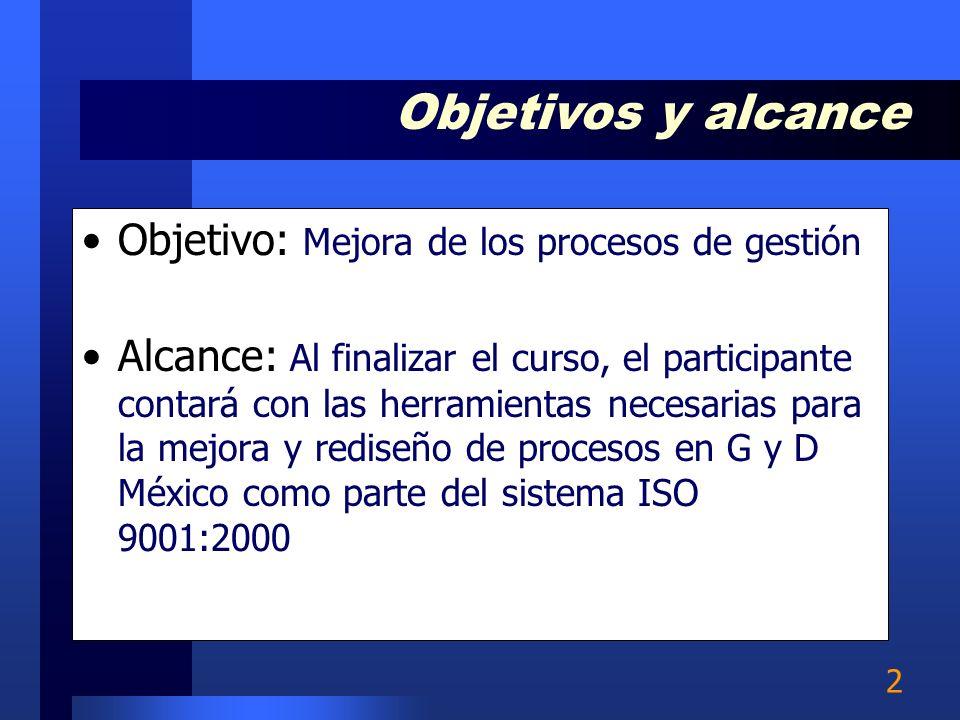 2 Objetivo: Mejora de los procesos de gestión Alcance: Al finalizar el curso, el participante contará con las herramientas necesarias para la mejora y rediseño de procesos en G y D México como parte del sistema ISO 9001:2000