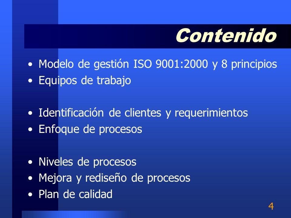 4 Modelo de gestión ISO 9001:2000 y 8 principios Equipos de trabajo Identificación de clientes y requerimientos Enfoque de procesos Niveles de procesos Mejora y rediseño de procesos Plan de calidad