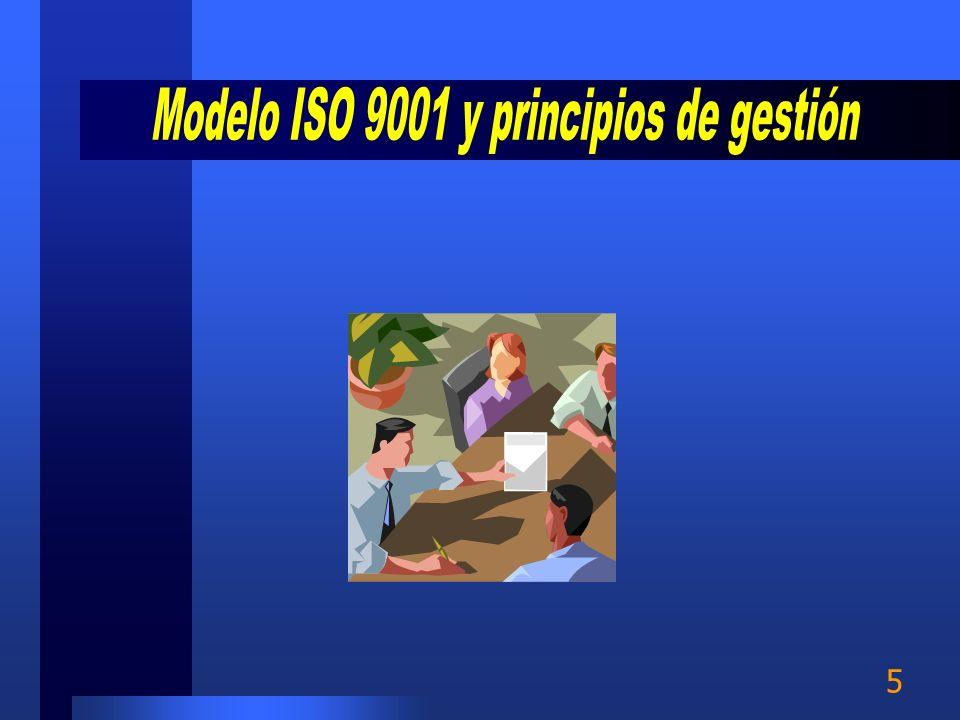 4 Modelo de gestión ISO 9001:2000 y 8 principios Equipos de trabajo Identificación de clientes y requerimientos Enfoque de procesos Niveles de proceso