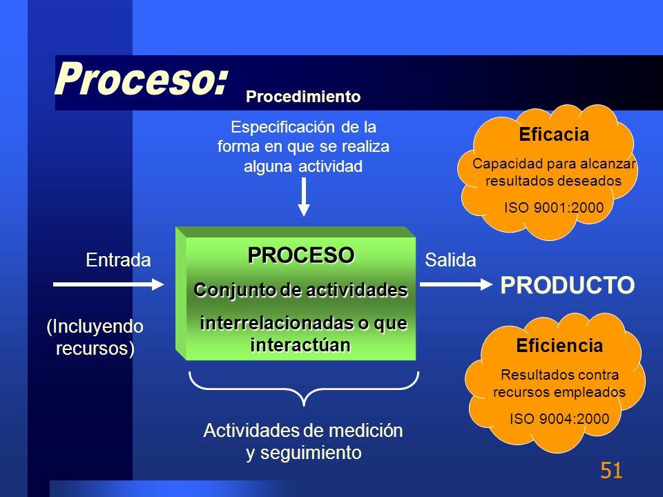 50 Proceso es la organización lógica de personal, materiales, energía, equipo e información en actividades diseñadas para producir un resultado requer