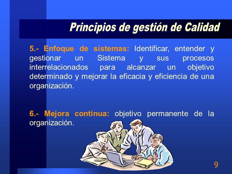 8 3.- Participación de los colaboradores: El personal, de todos los niveles, es la esencia de una organización y su total compromiso permite que sus c