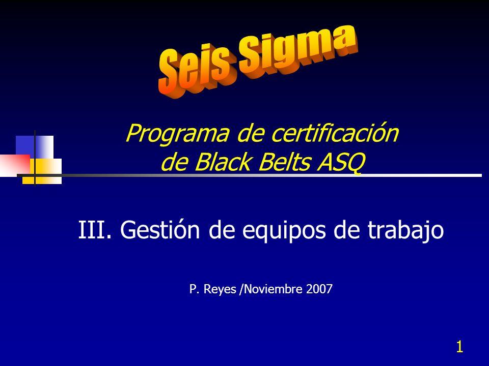 1 Programa de certificación de Black Belts ASQ III. Gestión de equipos de trabajo P. Reyes /Noviembre 2007